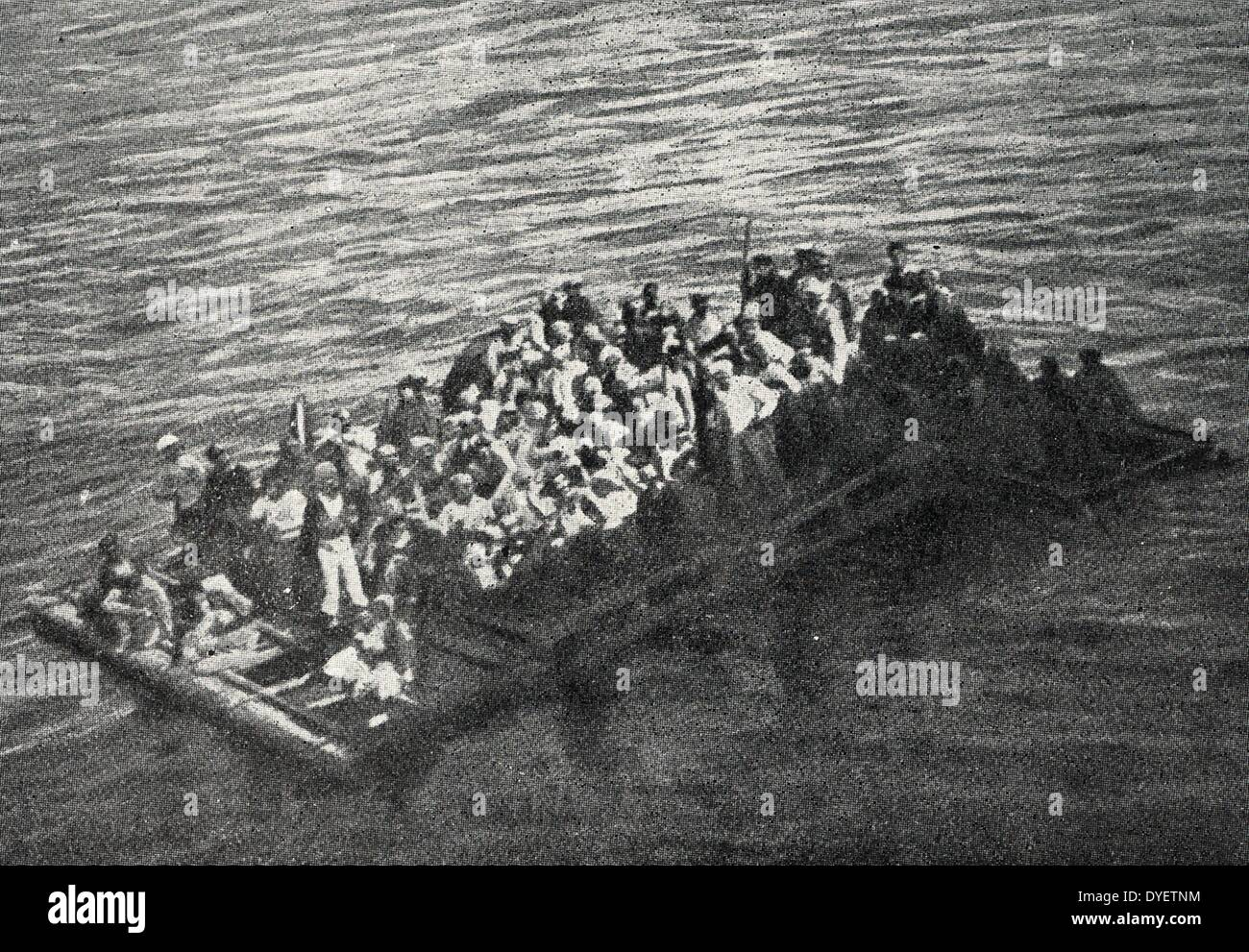 world War I, A from the wreck of the Italian auxiliary cruiser Gallia, torpedoed on October 4, 1916 in the morning. The raft is - Stock Image