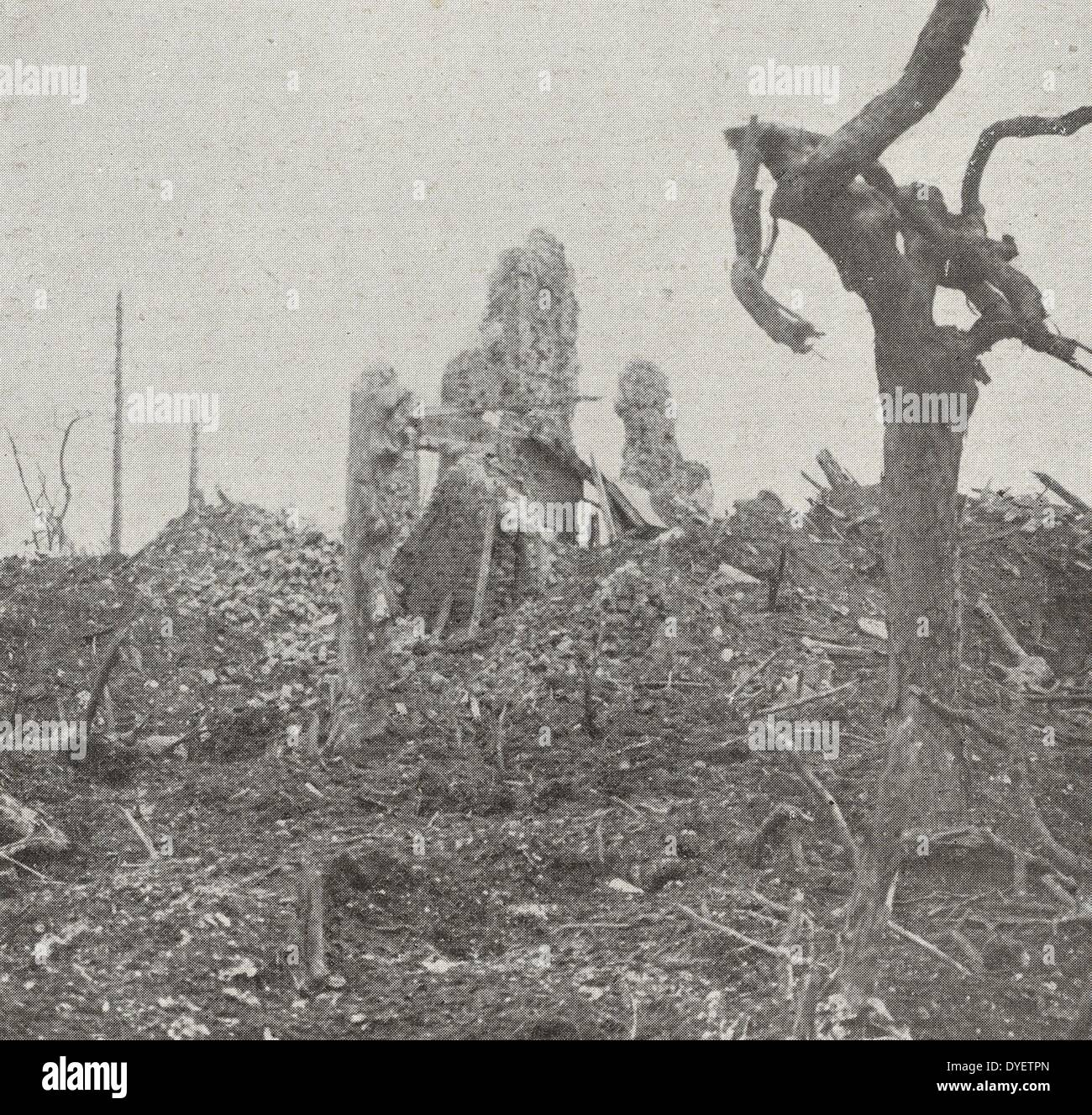 destruction visible after the British occupied, the villages of Picardy Gommecourt, World War One 1916 Stock Photo