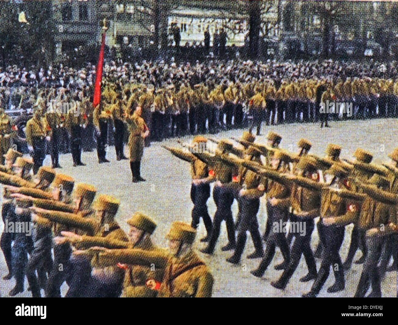 Nazi brownshirts march through Braunschweig 1932 - Stock Image