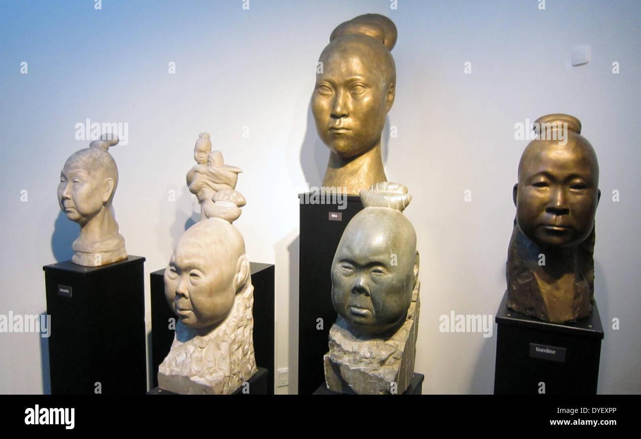 Modern Eskimo sculptural portraits, Nuuk Museum, Greenland. - Stock Image