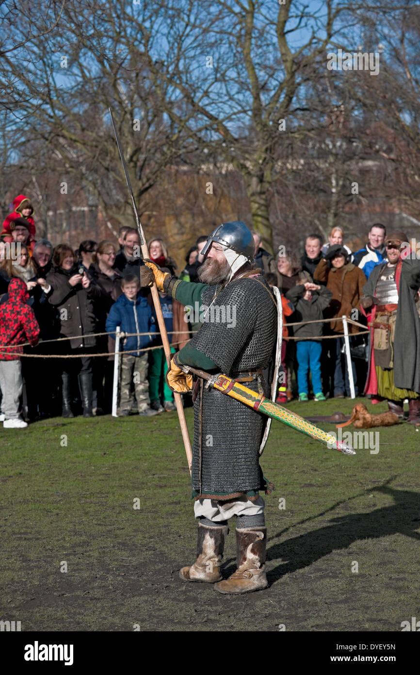 Viking warrior at the Annual Jorvik Viking Festival York North Yorkshire England UK United Kingdom GB Great Britain - Stock Image