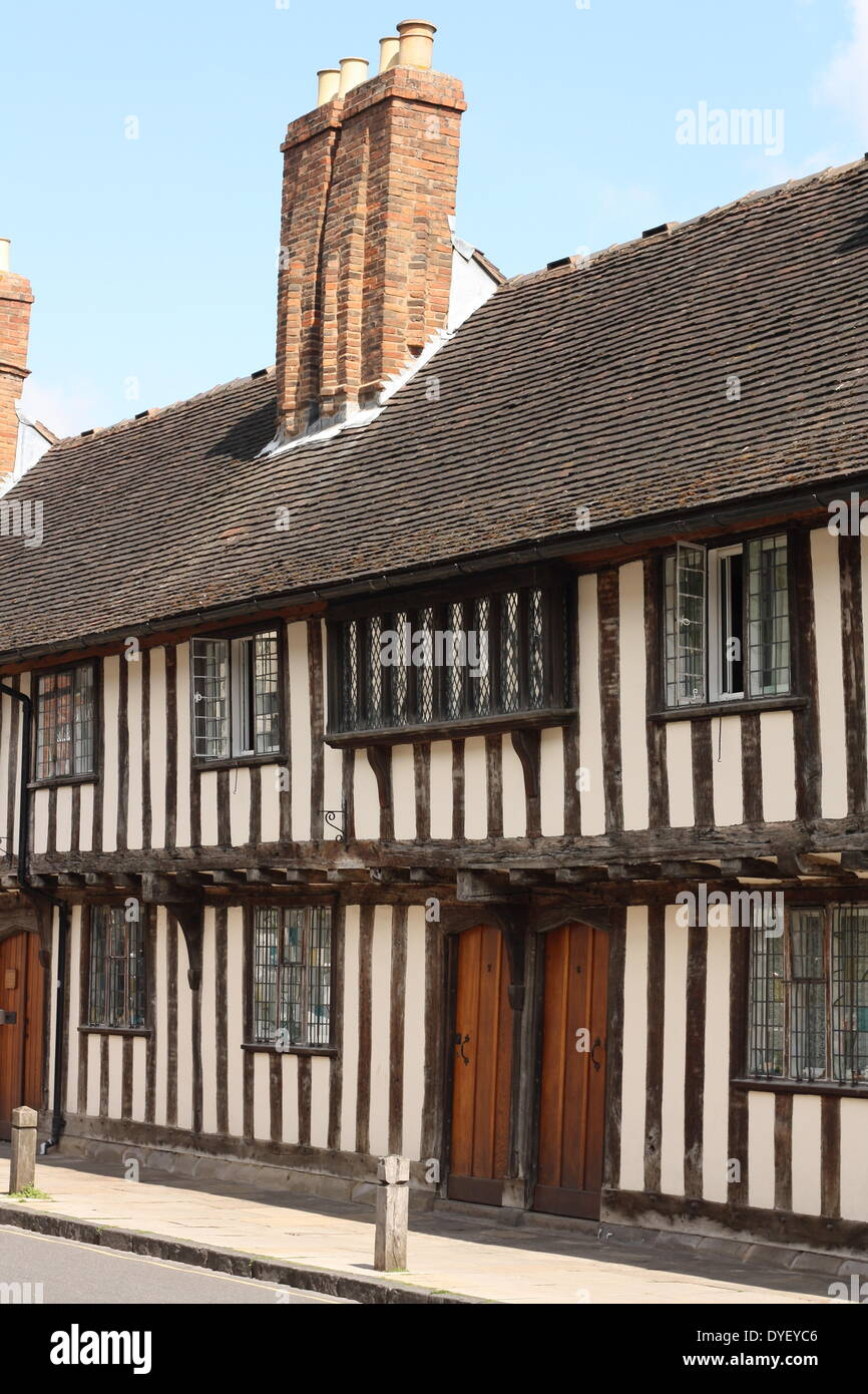 Tudor style half timbered buildings - Stock Image