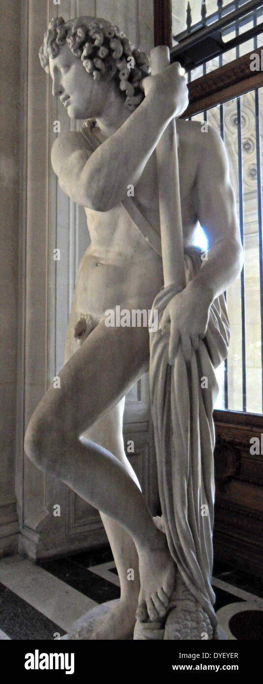 Marble statue of an Atlante Satyr. - Stock Image