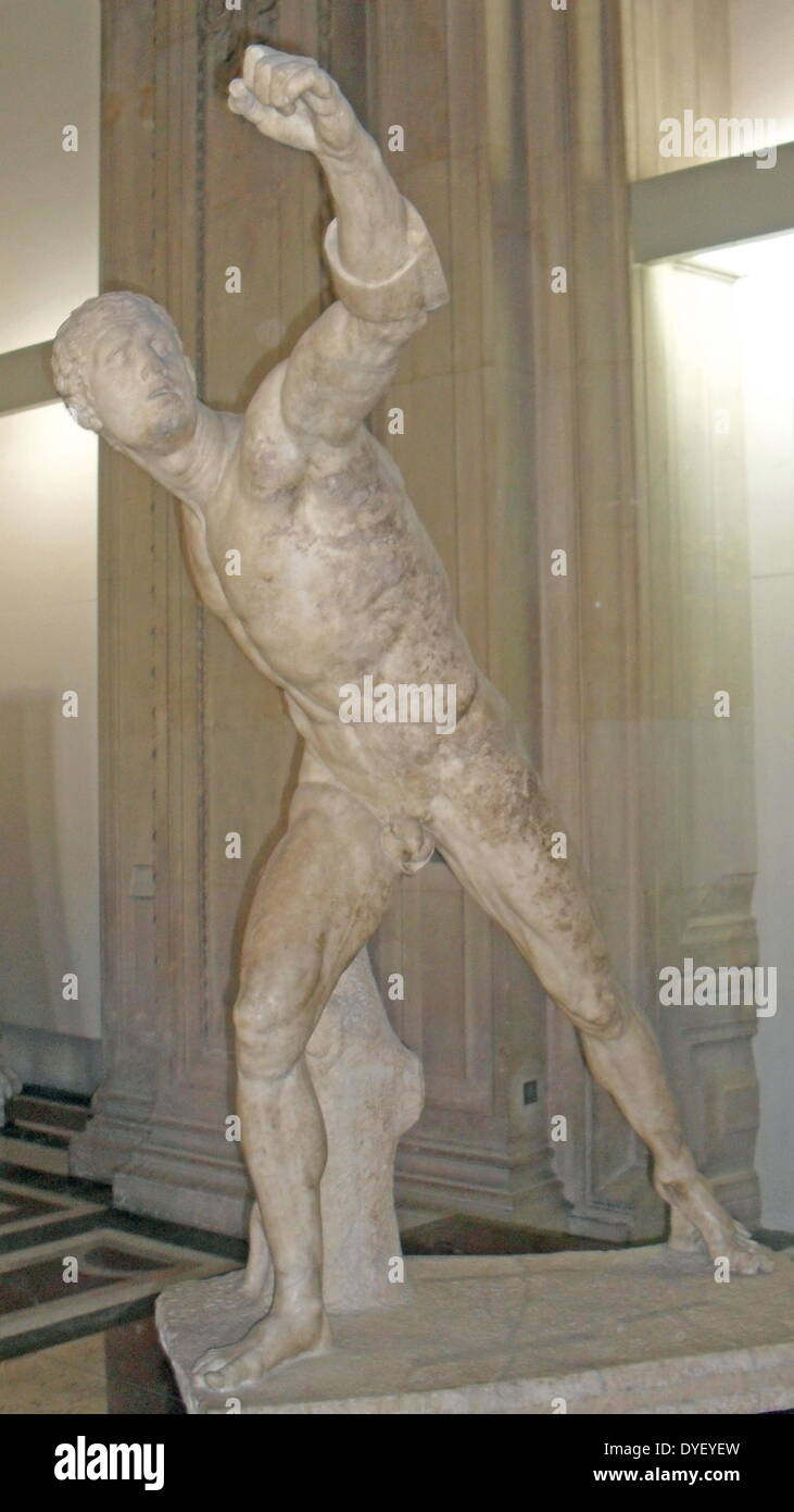 Marble sculpture of a fighting Warrior or gladiator. Circa 100 BC. Italy. Stock Photo