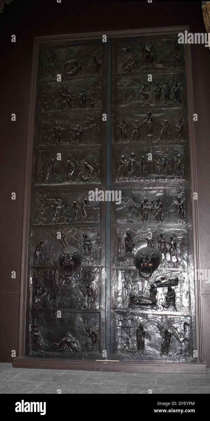 Bronze doors with scenes from the Old and New Testament in relief. Made at the order of St. Bernward, and set up Stock Photo