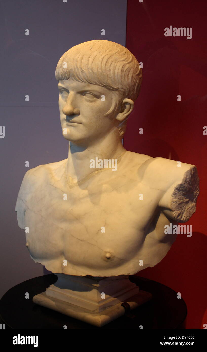 Marble bust of the Roman emperor Nero. - Stock Image