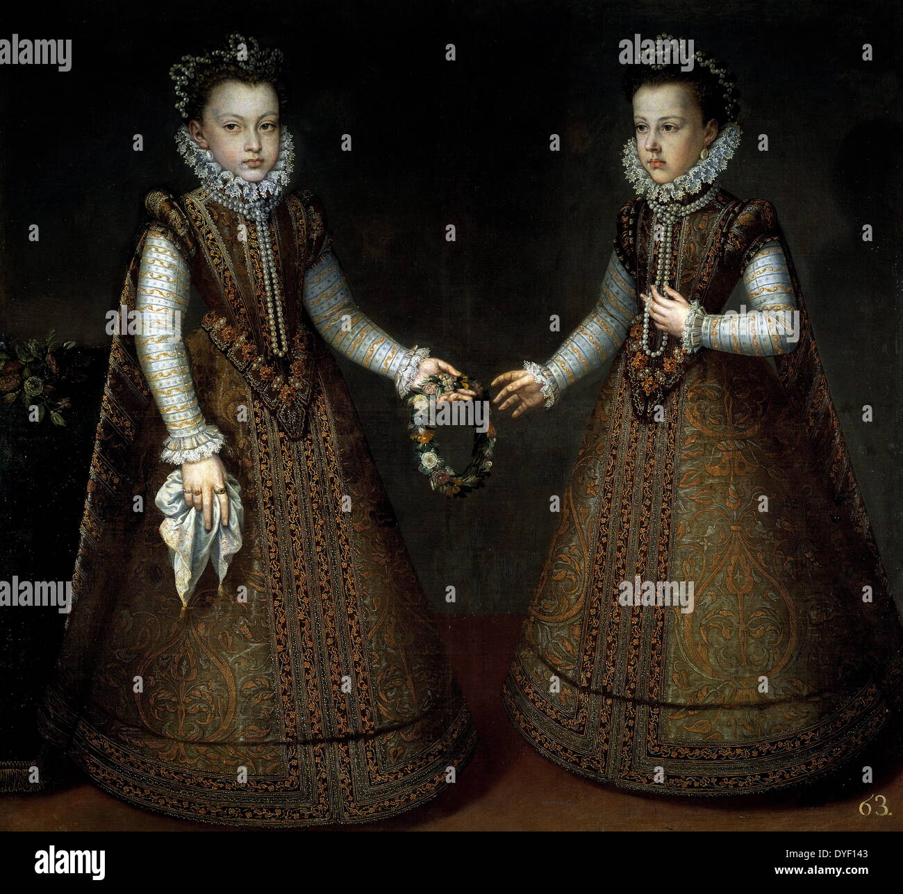 Painting by Alonso Sánchez Coello of Isabella Clara Eugenia of Austria and Catherine Michelle of Spain as infants. - Stock Image