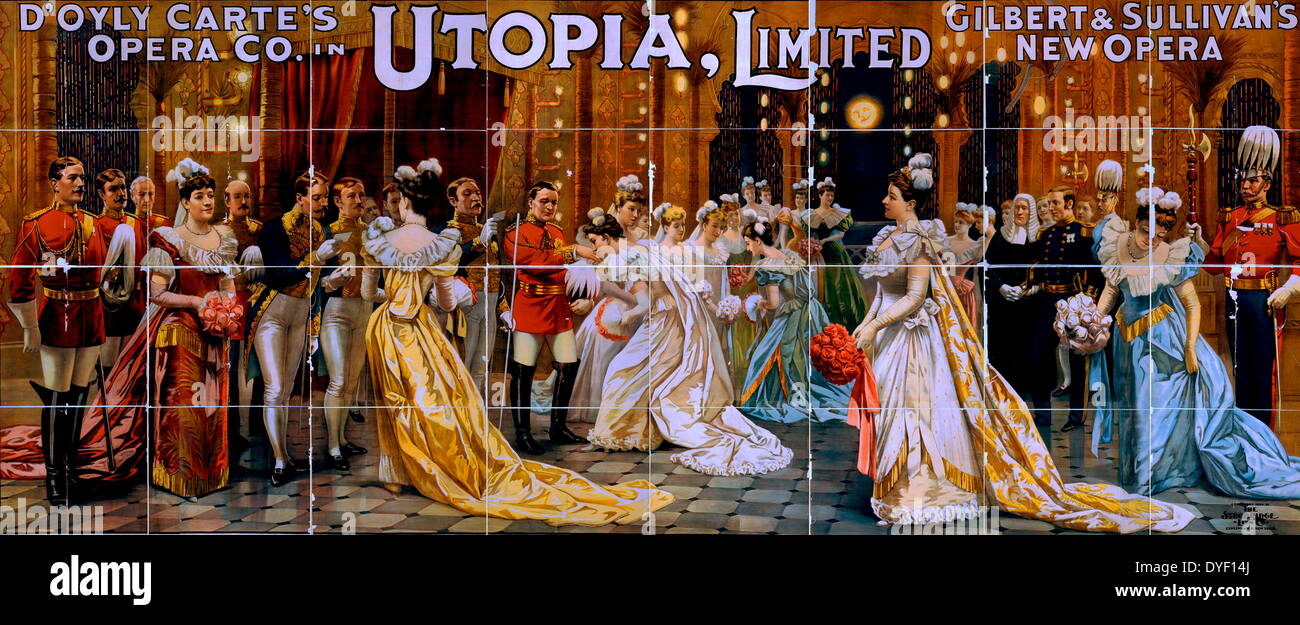 Vaudeville style promotional painting advertising the  D'Oyly Carte Opera Company. - Stock Image