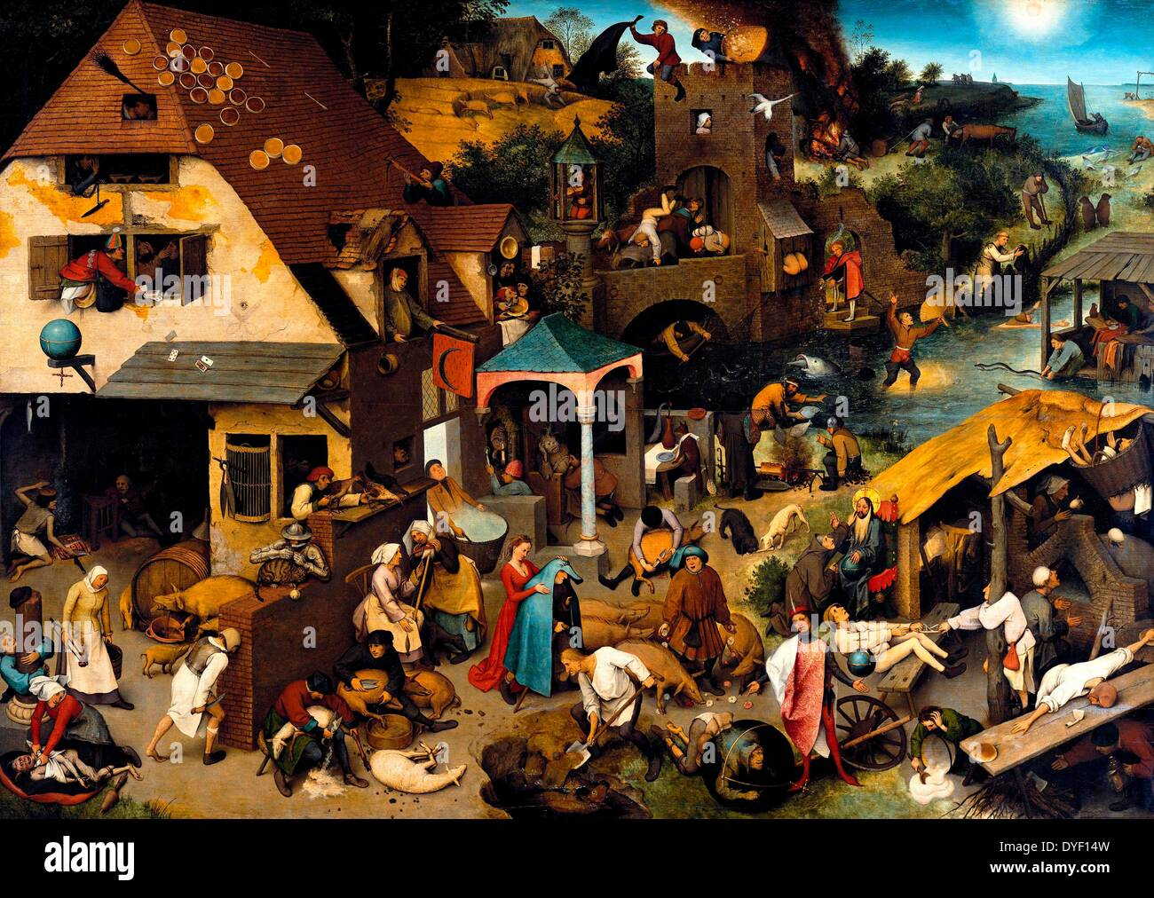 'Netherlandish Proverbs', a  painting by Pieter Bruegel the Elder depicting a land populated with  Dutch/Flemish proverbs. - Stock Image