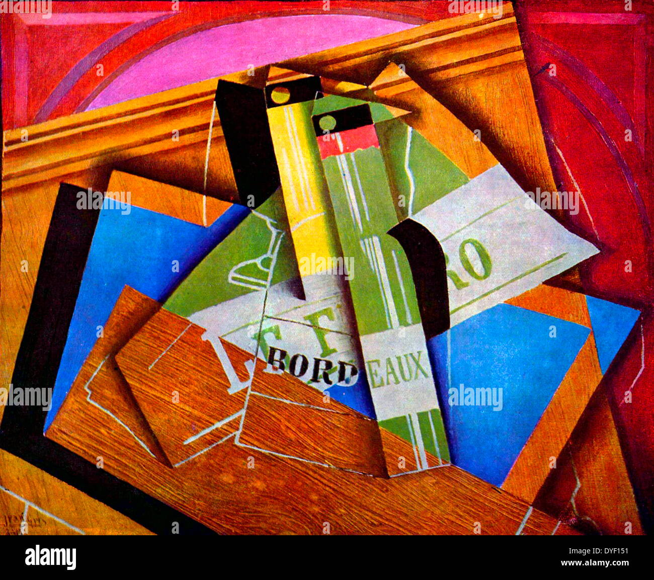 'Still life painting with Bordeux bottles' by Juan Gris. - Stock Image