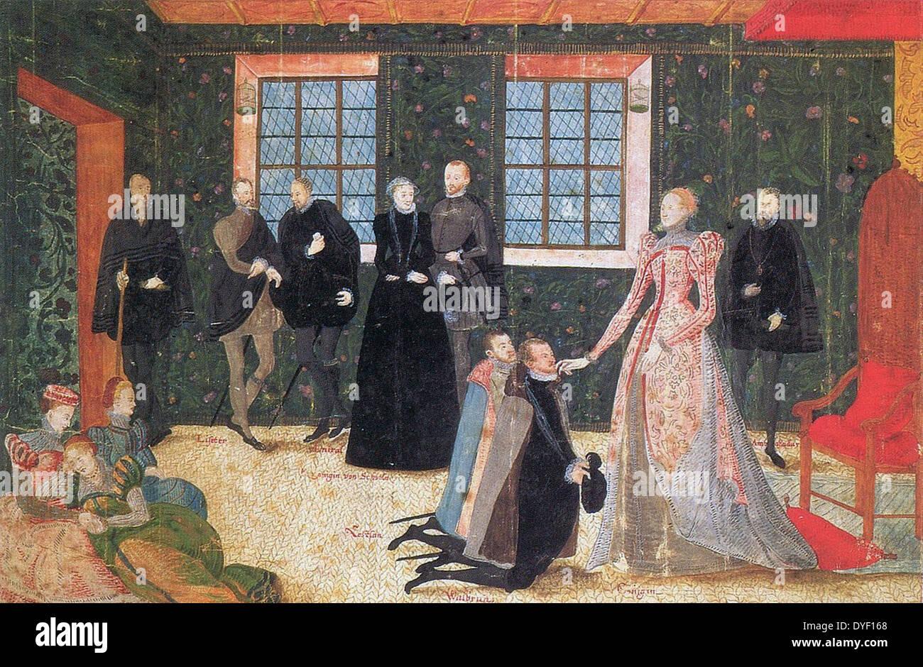 Queen Elizabeth I of England receiving Dutch Ambassadors. - Stock Image