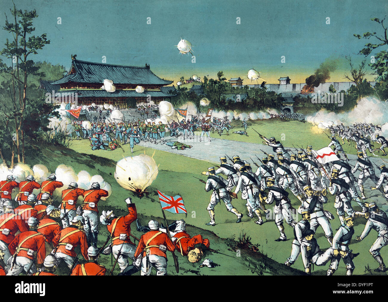 The fall of the Pekin castle, the hostile army being beaten away from the imperial castle by the allied armies by Torajiro - Stock Image