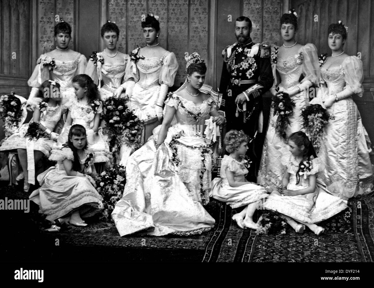Portrait photograph in Buckingham Palace from the wedding of King George V and Princess Mary of Teck. - Stock Image