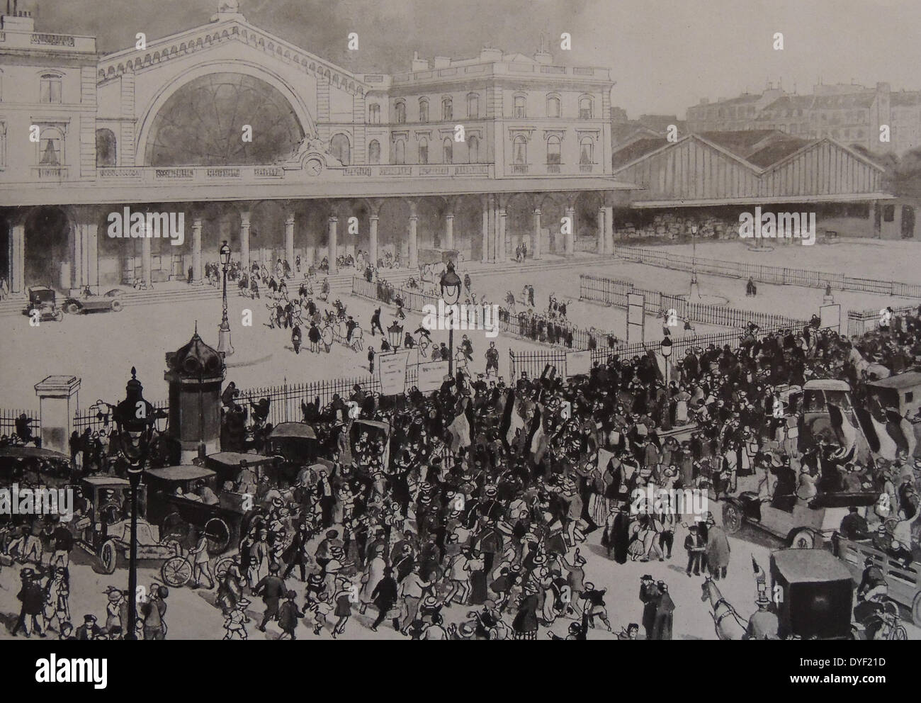 Crowds waving off French recruits and conscripts. - Stock Image