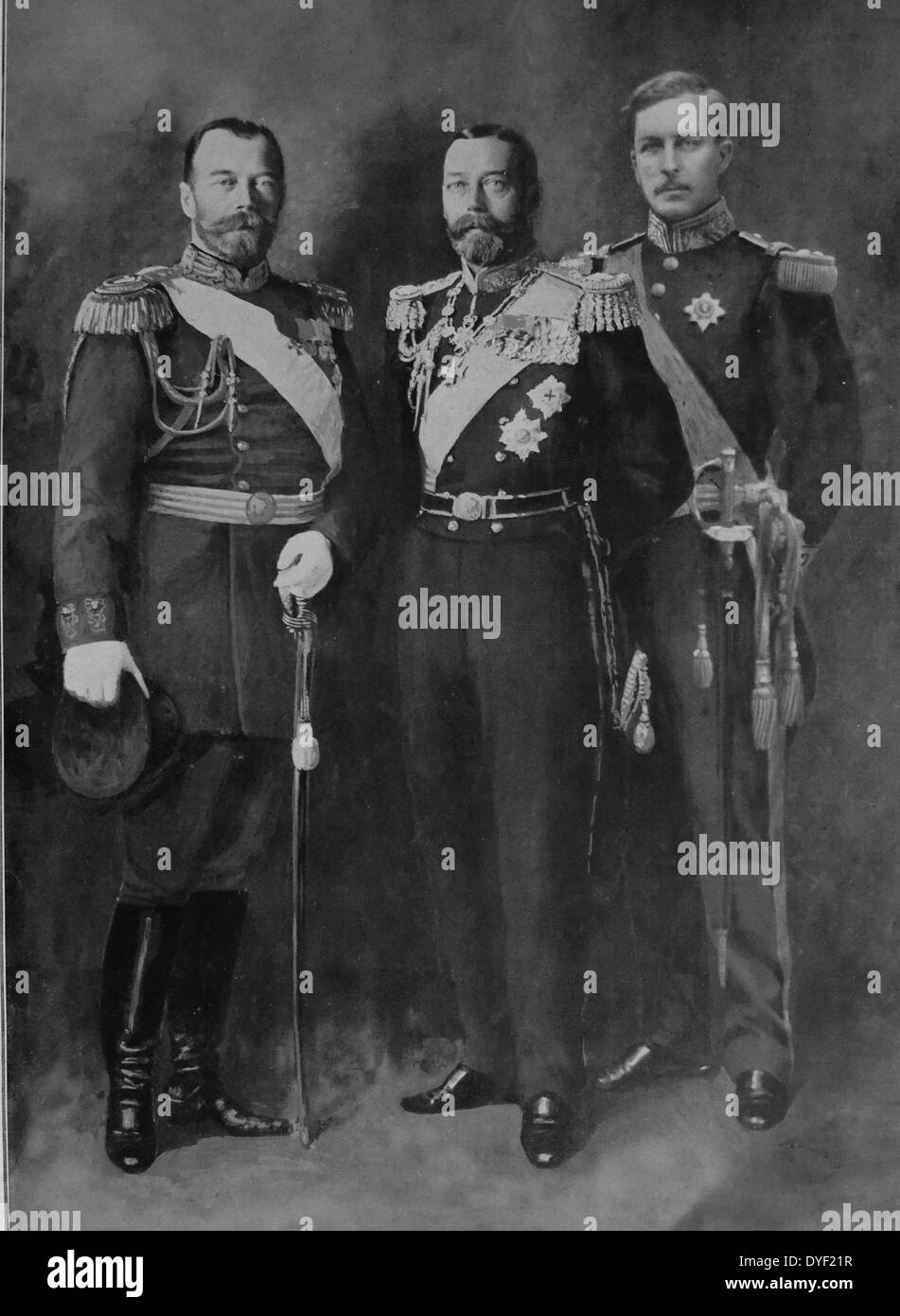 Three allied monarchs at the outset of World War I. - Stock Image