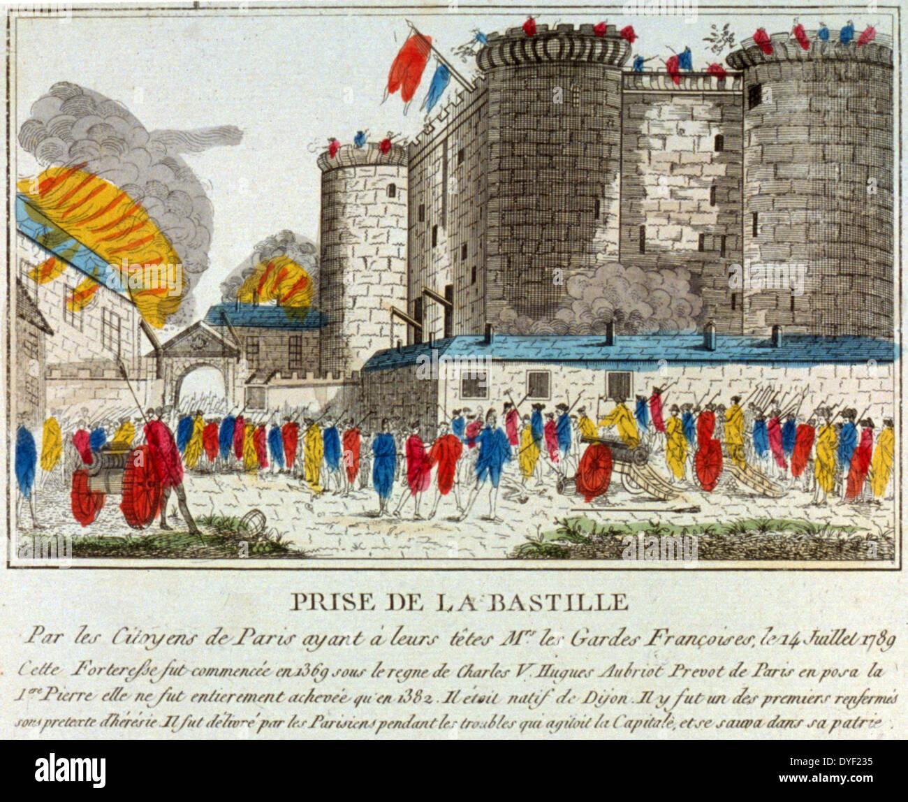 Prise de la Bastille par les Citoyens de Paris; C'est ainsi que l'on punit les traitres 1789. - Stock Image