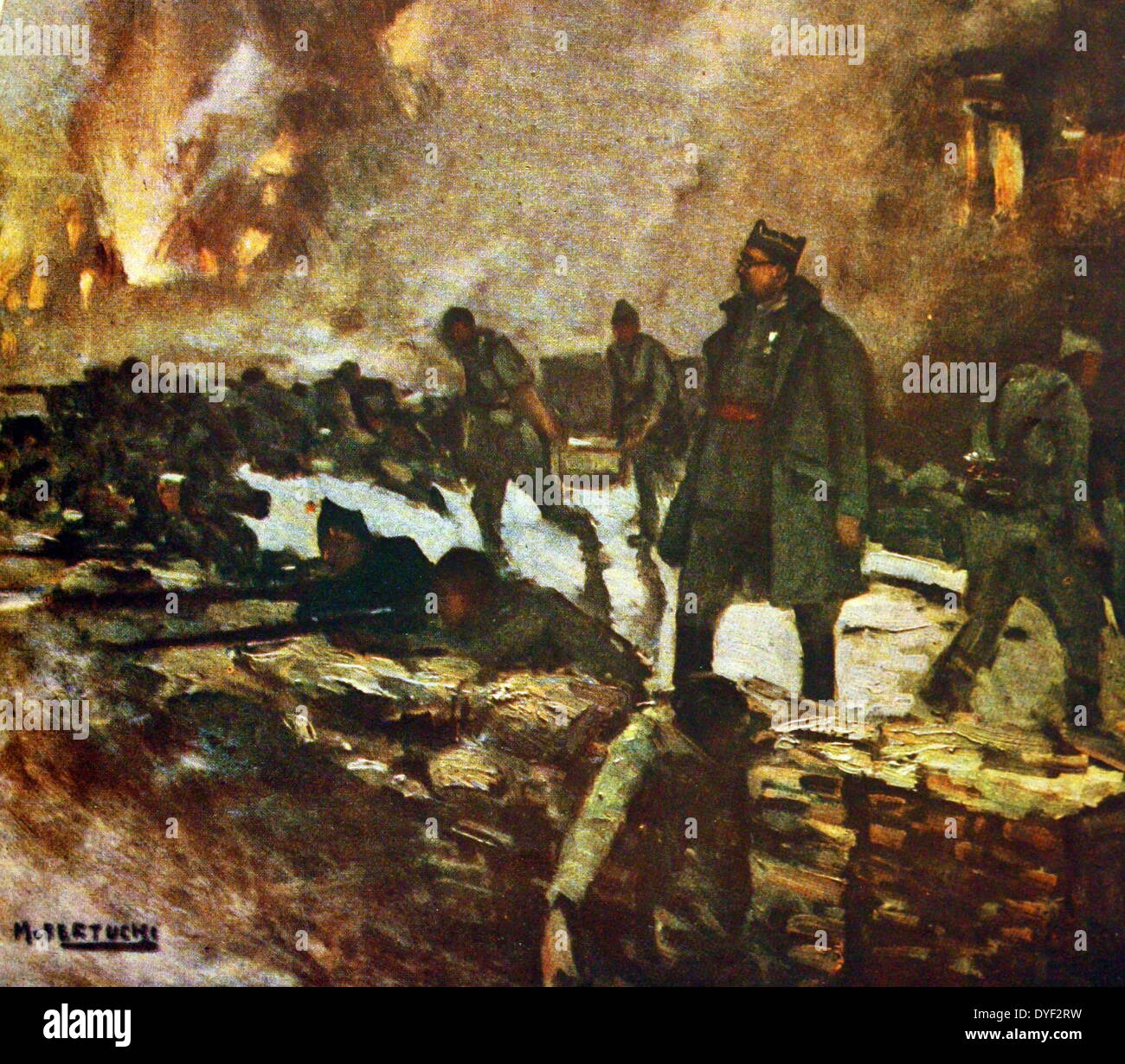 Painting of the battlefield, Showing soldiers in trenches surrounded by fire and explosions. - Stock Image