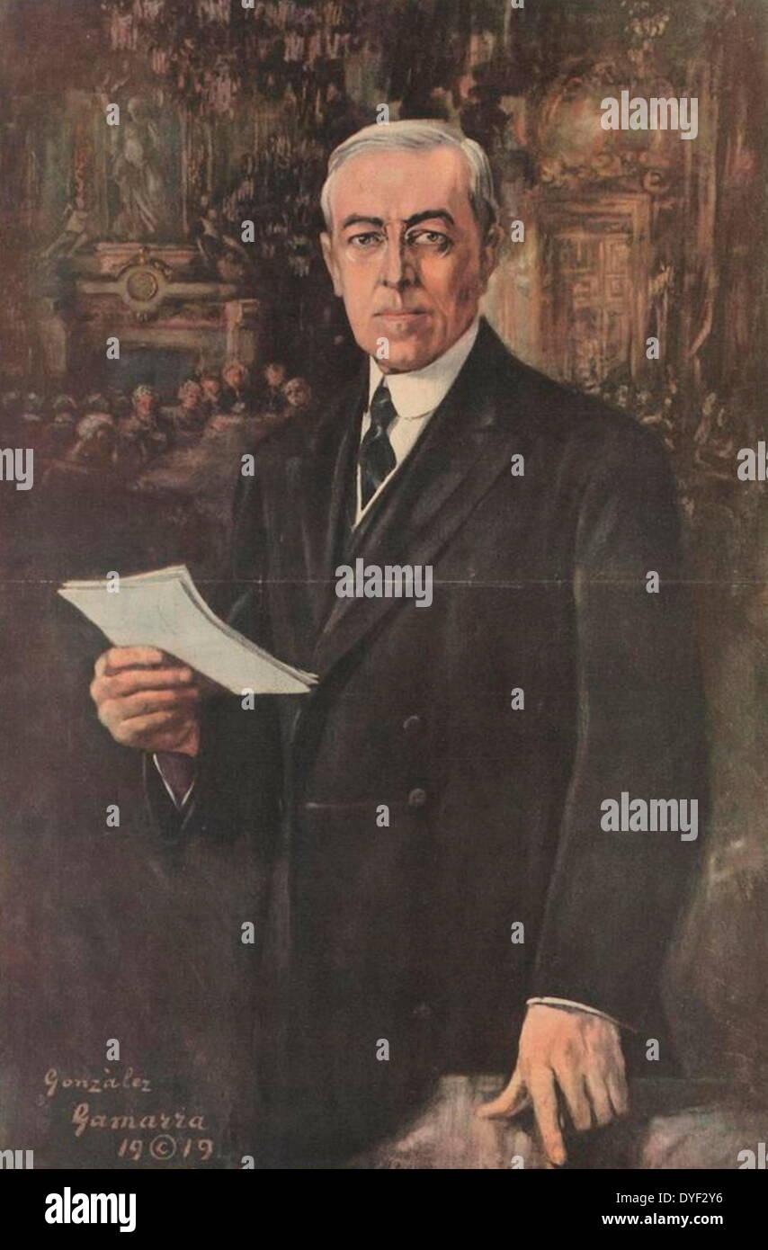 Portrait of President Woodrow Wilson 1919. - Stock Image
