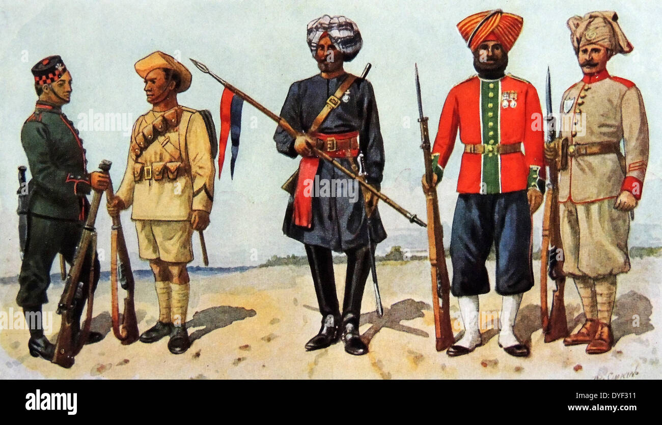 Indian army uniforms - Stock Image
