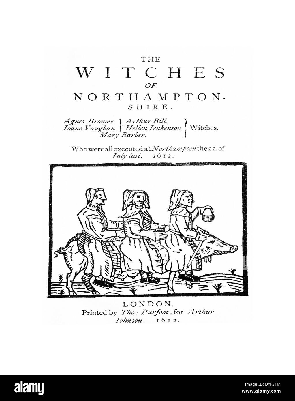 Cover of the pamphlet The Witches of Northampton - Stock Image