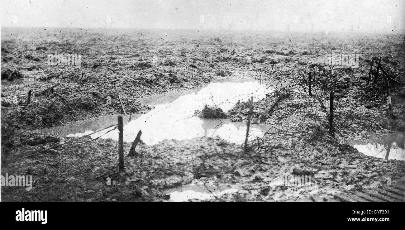Photograph of the Battlefield of Passchendaele. 1914–1918. - Stock Image