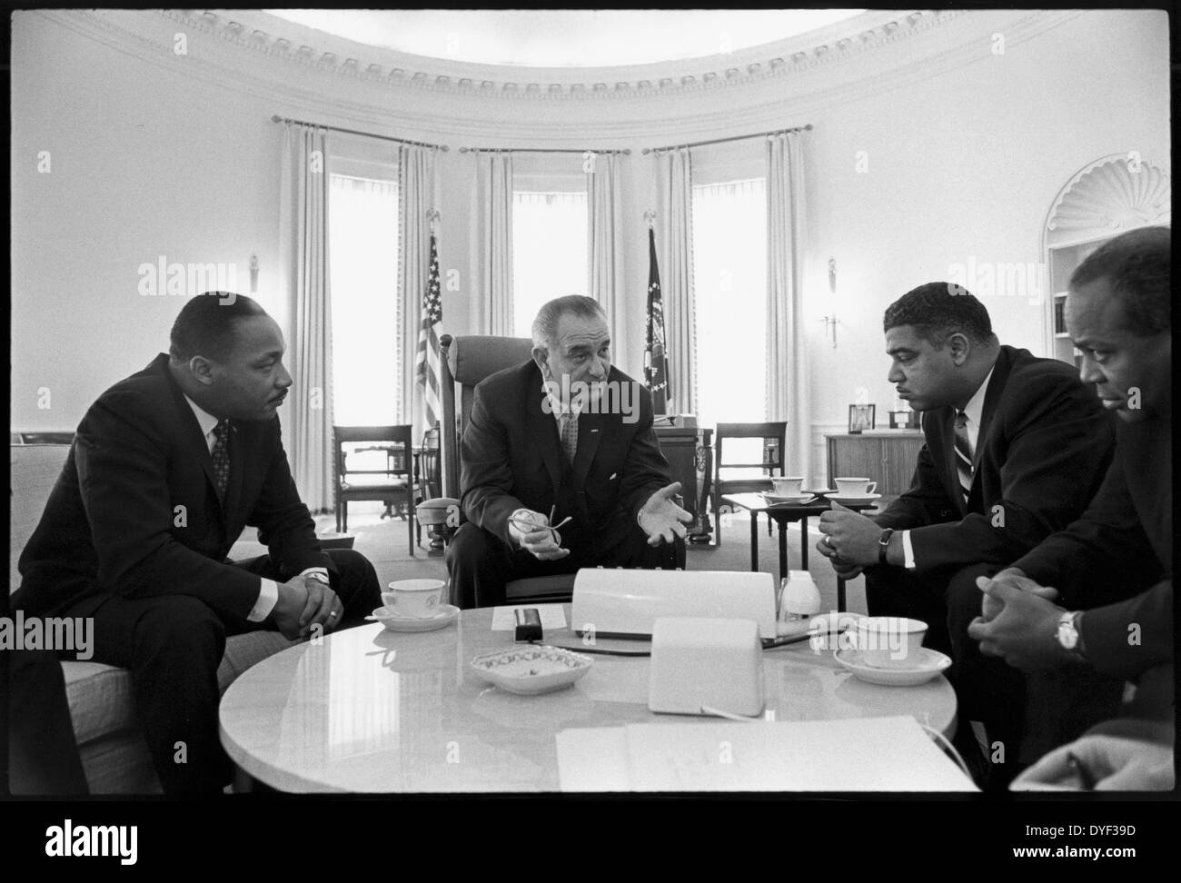 Photograph of Martin Luther King J.r, President Lyndon Johnson and James Abernathy. 1964 - Stock Image