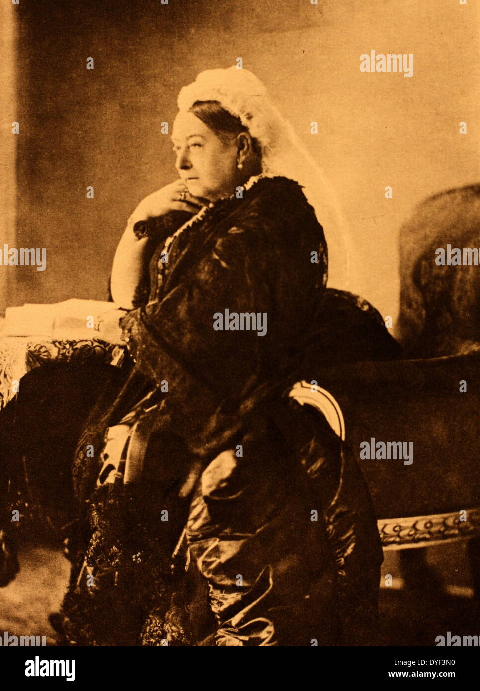A portrait photograph of Queen Victoria. - Stock Image