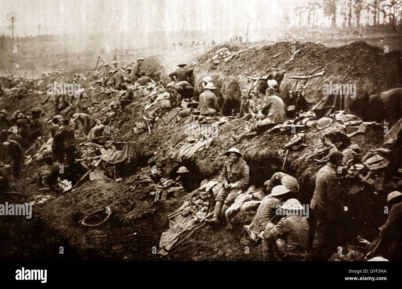Photograph of the trenches during the First World War. - Stock Image