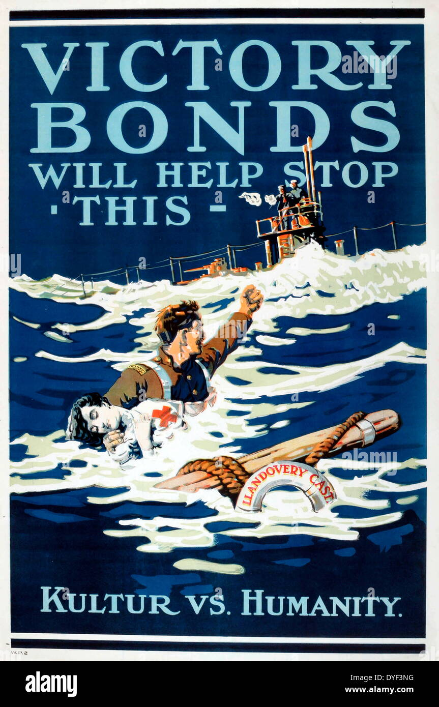 Canadian WWI poster advertising Victory Loan. - Stock Image