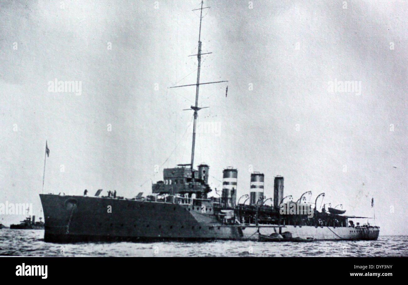 WWI photo of the HMS Amphion. - Stock Image
