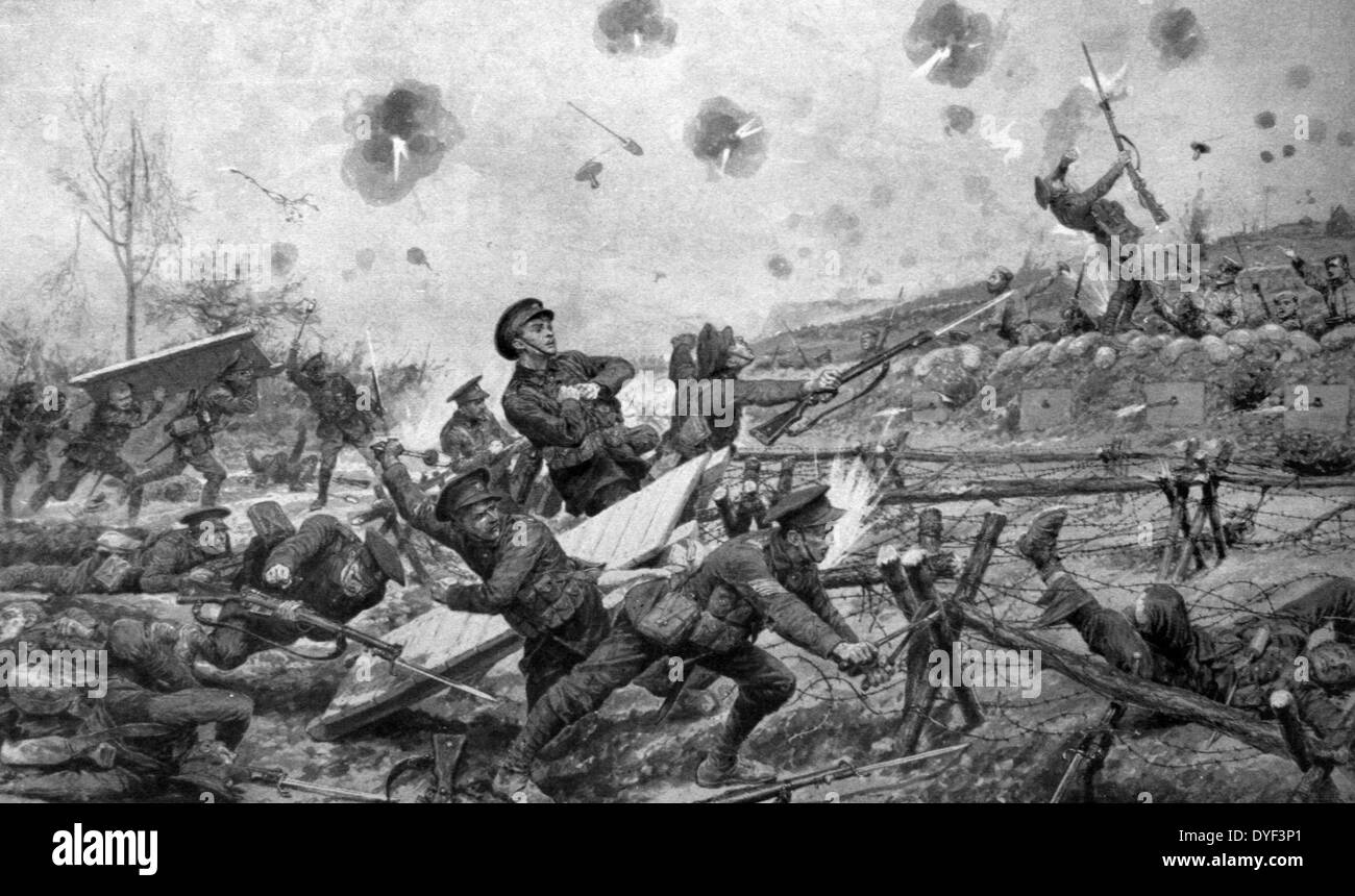 Illustration depicting a battle during the First World War. - Stock Image