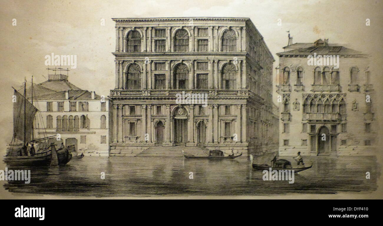 Illustration of the Palazzo Grimani. - Stock Image
