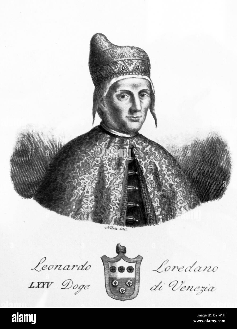 Portrait of Leonardo Loredan. - Stock Image