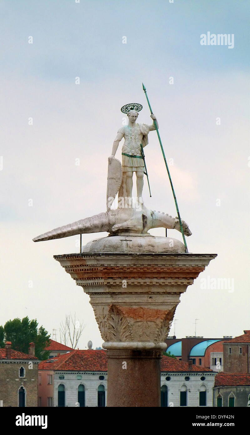 St Theodore on Column in the Piazza San Marco. - Stock Image
