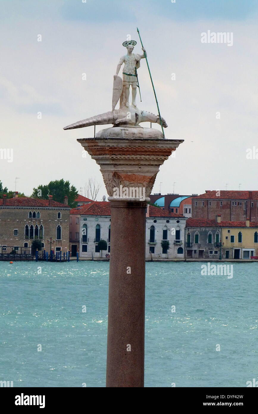 St Theodore on Column in the Piazza San Marco 2013. - Stock Image