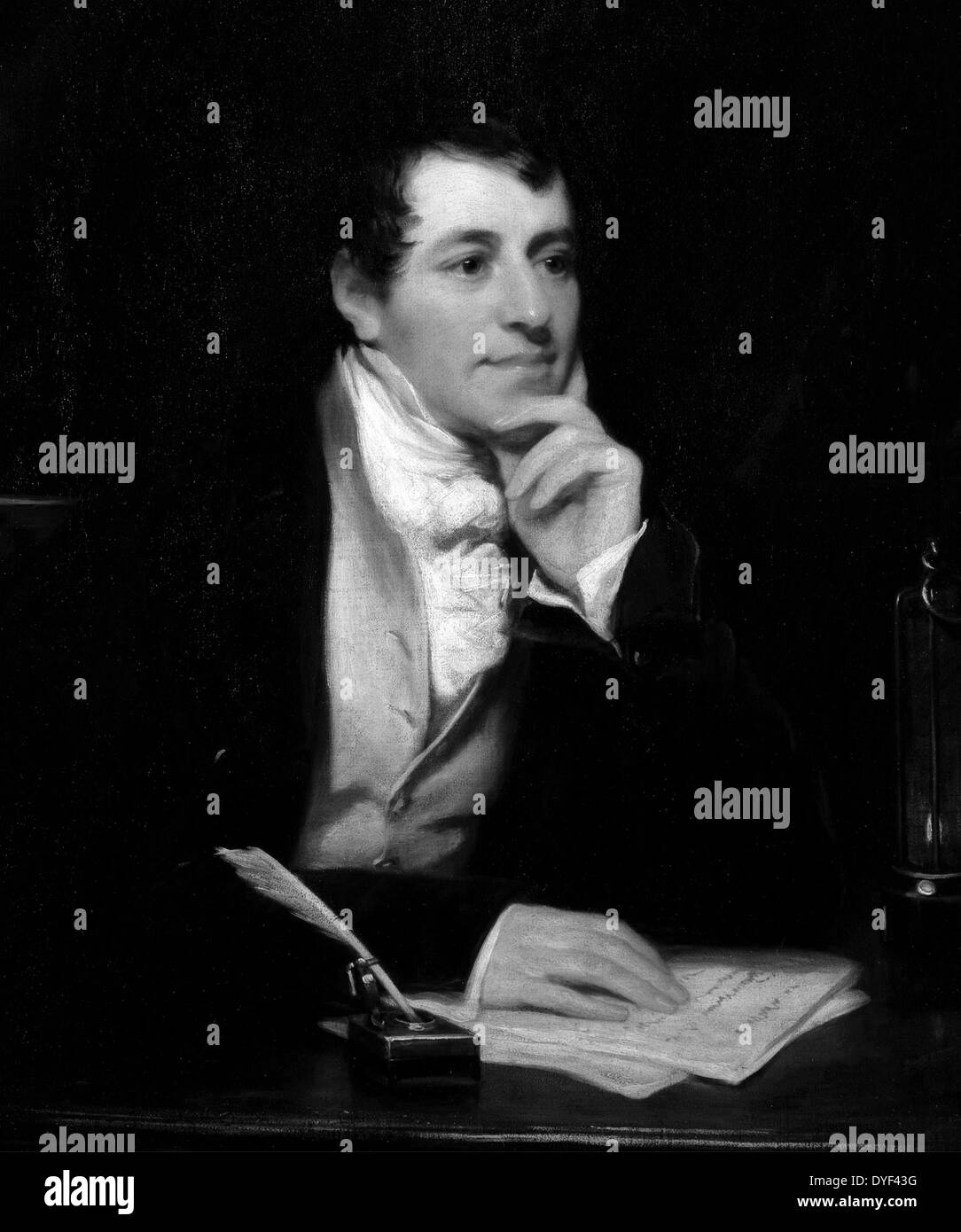 Portrait painting of Sir Humphry Davy, by Thomas Phillips. - Stock Image