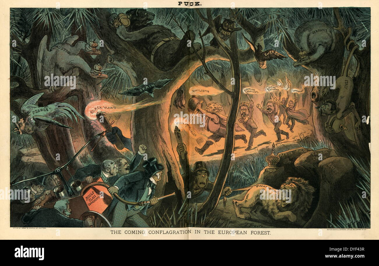 Satirical cartoon called 'The Coming Conflagration in the Europen Forest'. - Stock Image
