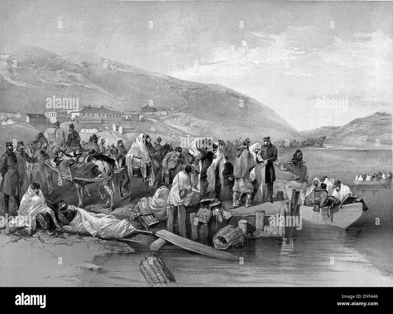 Illustration depicting some of the casualties which occurred during the Crimean War, 'Embarkation of the sick at Balaklava'. - Stock Image