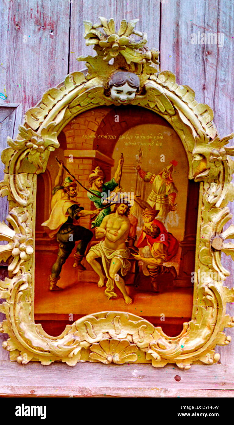 Two icons in the Church of the Prophet Elijah 1909. - Stock Image