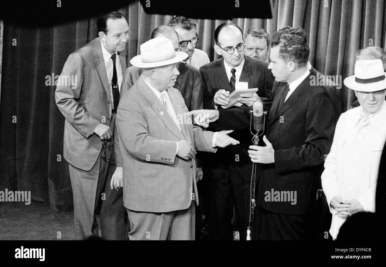 Mr Khrushchev and Vice President Nixon of T.V. at American Exhibit 1959. - Stock Image