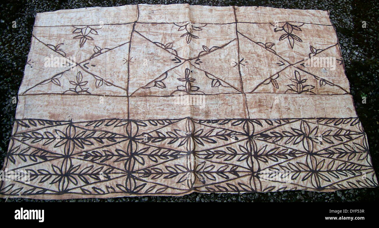 Painted Tapa, or Ngatu, from Tonga in the South Pacific. Tapa cloth is made from the inner bark of the mulberrytree (hiapo) and - Stock Image