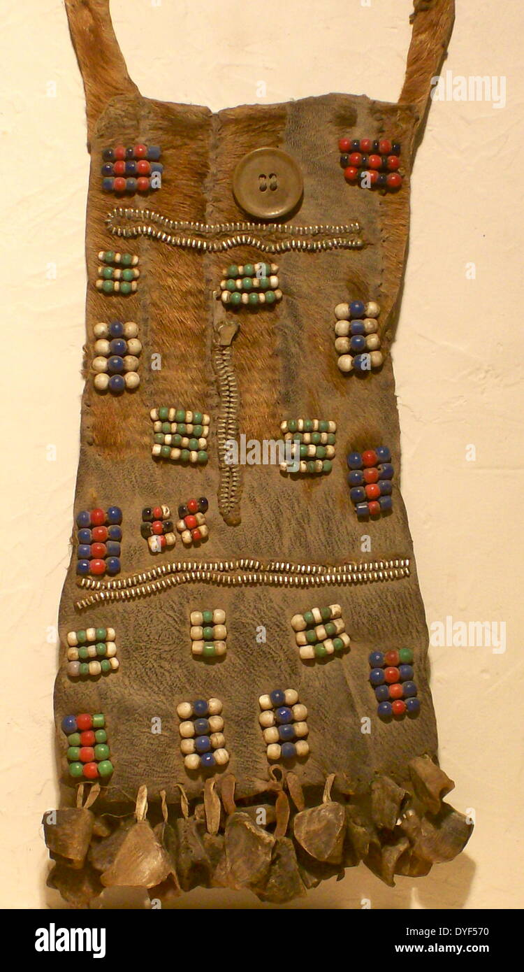 Decorated loincloth, with zip-fasteners,  worn by Turkana tribeswoman from Kenya, East Africa. - Stock Image