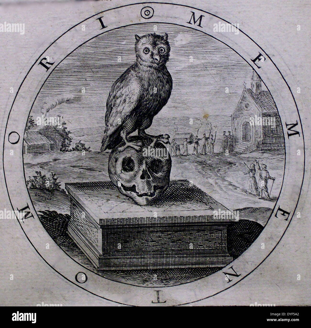The owl as a symbol of mortality; an etching in George Wither's 'A Collection of Emblemes, Ancient and Moderne', 1635. - Stock Image