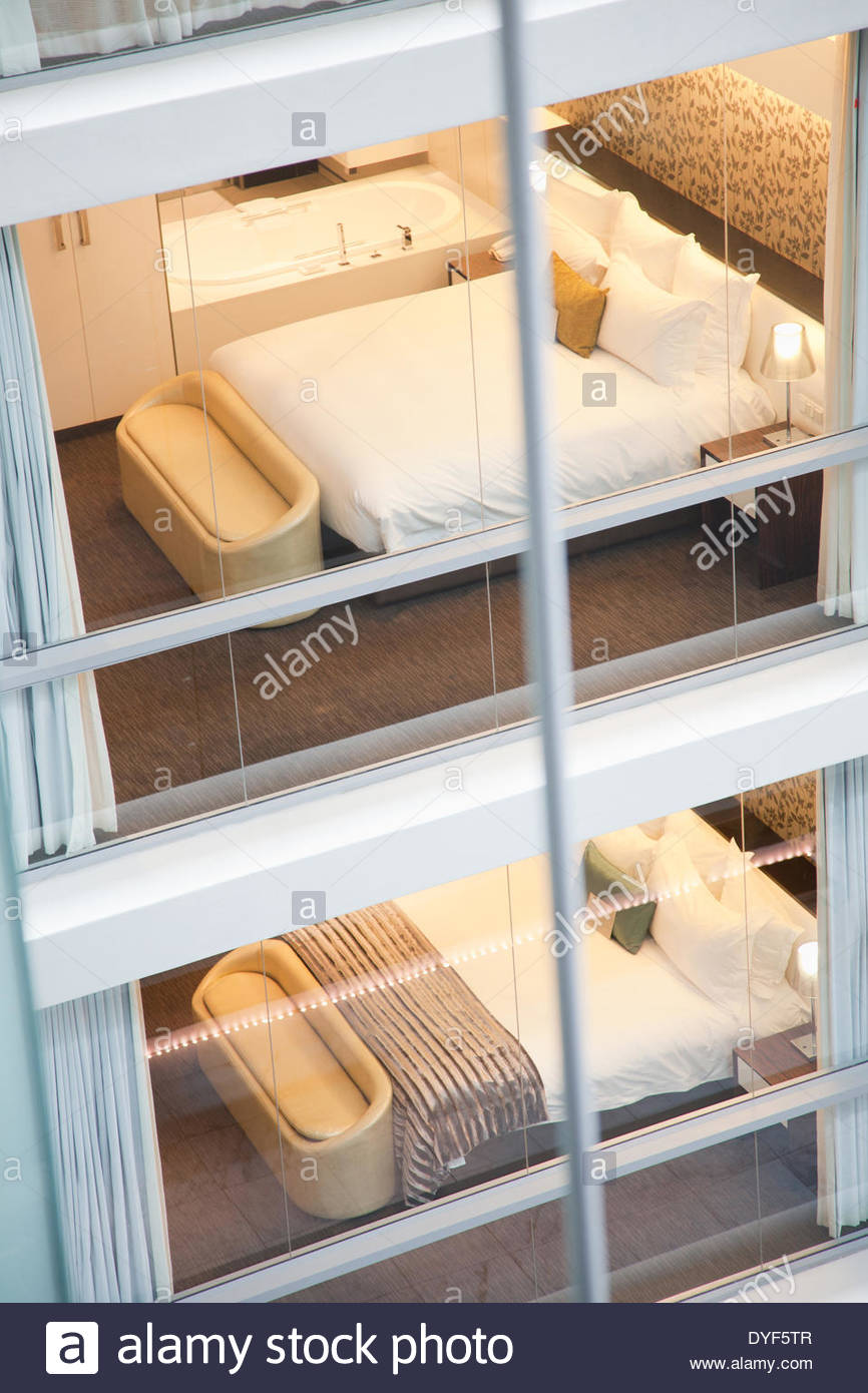 Bed, elevated view - Stock Image