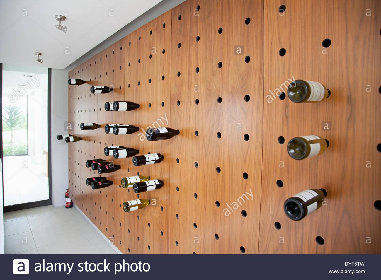 Wine rack in modern house - Stock Image