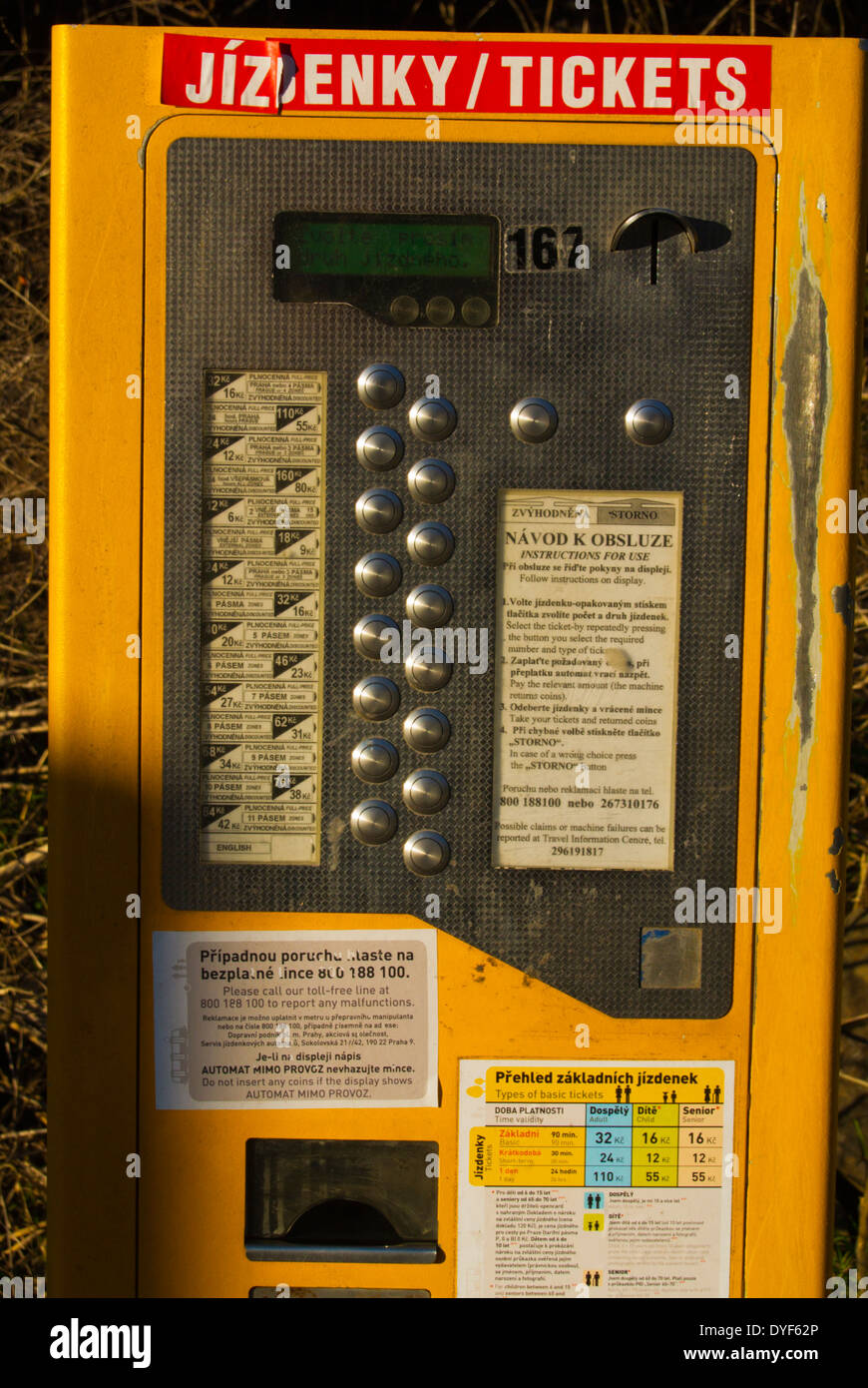 Machine for public transport tickets, Prague Czech Republic Europe - Stock Image