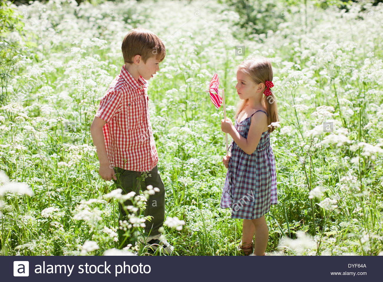 Children playing with pinwheel in field of flowers - Stock Image