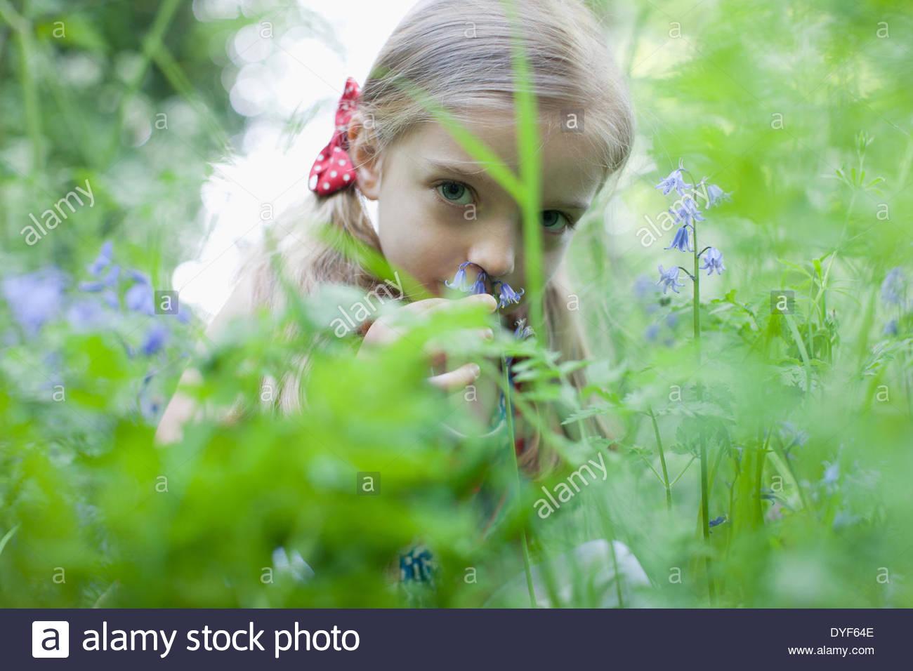 Girl picking wildflowers - Stock Image