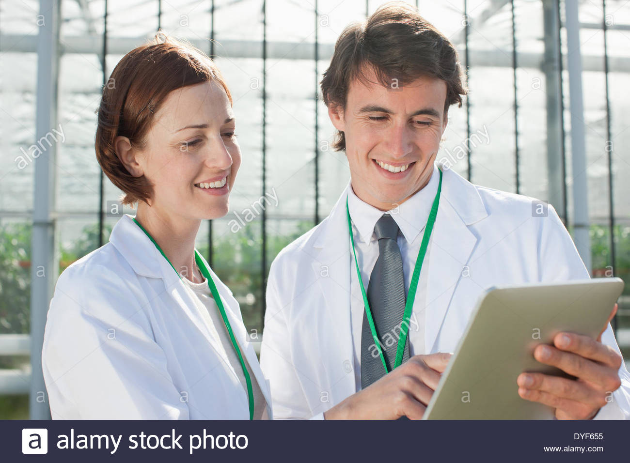 Scientists examining clipboard outdoors - Stock Image