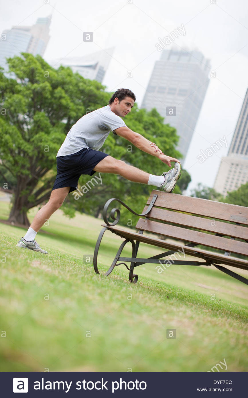 Man stretching before exercise - Stock Image